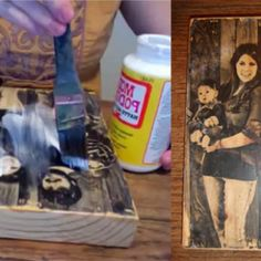 Transfer picture onto block of wood- This came out so well! I've done this for many of my family members. It gets a little frustrating trying to rub off the pulp. Be sure to use warm water. Don't panic if you accidently rub some of the image off, it can give it a cool antique look, but don't over-do it. The mod podge tends to leave streaks so next time I am going to use a spray mod podge to seal it. I've done big and small pictures with this- they all came out great! {ALR}