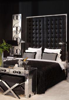 Chic Black and White Bedroom - Mebel-i-dekor-Eichholtz- Black White Bedrooms, Bedroom Black, Bedroom Brown, Walnut Bedroom, Black Bedroom Design, Glam Bedroom, Home Decor Bedroom, Bedroom Ideas, Bedroom Furniture