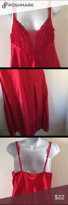 Victoria's Secret night gown RED with slit on front side. Adjustable straps and laced bodice. Excellent condition. Victoria's Secret Intimates & Sleepwear Pajamas