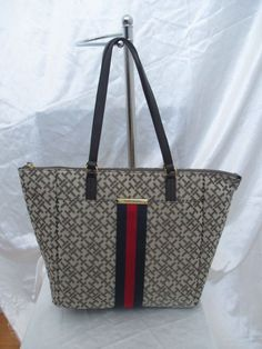 New Handbag Tommy Hilfiger Purse Tote Color Brown Blue Red Style 6935943 272 #TommyHilfiger #TotesShoppers