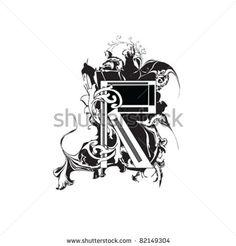 stock vector : Letter R Ornate Black and White