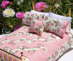 Miniature Quilt - English Rose Garden, with matching bed pillows and decorator pillow 1:12 Scale. $42.00, via Etsy.