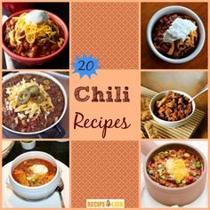 20 Best Easy Chili Recipes - Wonderful collection of recipes. Slow cooker chili, beef chili, chicken chili...