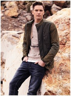 Mango Highlights Casual Mens Spring 2015 Styles in Mountain Shoot Featuring Florian Van Bael