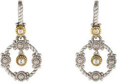 Sterling silver and 18K yellow gold Judith Ripka drop earrings with bezel set diamond accents and lever back closures.