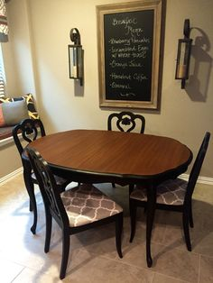 French Provincial Dining Table and Chairs painted with General Finishes Lamp Black.