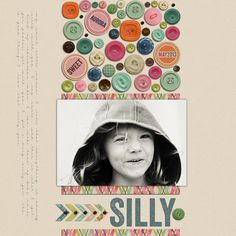 Silly. Button layout. Shabby Princess Scrapbook supplies.