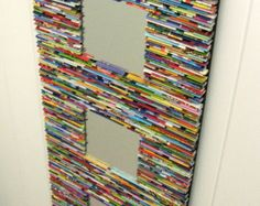 neutral mirror wall art made from recycled by colorstorydesigns