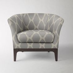 "Tulip Chair - $800  Prints #WestElm  • Solid wood frame; solid wood legs with Chocolate-stained finish.    • 35""w x 30""d x 30""h."