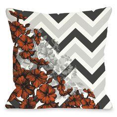 Amber Chevron Floral Throw Pillow