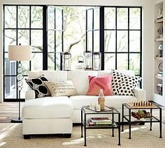 Buchanan Square Arm Upholstered Sofa with Reversible Chaise Sectional