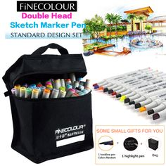 FINECOLOUR 36 48 60 72 Alcohol Based Marker Double Head Brush Art Sketch Marker Student Painting Sketch Drawing Copic Marker Pen