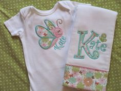 Girl Baby Shower Gift Set personalized set by SassyJunebugDesigns Baby Sewing Projects, Sewing For Kids, Burp Cloth Set, Cloth Diapers, Applique Onesie, Baby Girl Gift Sets, Butterfly Baby, Baby Bloomers, Baby Bibs