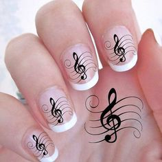29 TREBLE CLEF Music Note Nail Art Decals - G Clef  WaterSlide Transfers Nail Stickers Nail Wraps