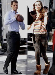 """Dakota Johnson and Jamie Dornan play football between takes on set of 'Fifty Shades Darker' (March 17th 2016) """