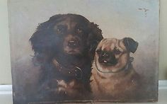 19th Century Oil Painting Dog Portrait Pug Spaniel Signed Amy Tyler 1903 | Art, Paintings | eBay!
