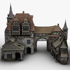old medieval warehouse obj - Minecraft World Casa Medieval Minecraft, Minecraft Castle, Medieval Houses, Medieval Town, Minecraft Stables, Minecraft Designs, Minecraft Creations, Minecraft Projects, Architecture Minecraft