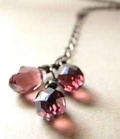 Amethyst Purple Violet Crystal Necklace by BellinaCreations, $30.00