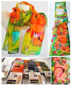 Silk scarf, handmade, unique, silk accessories, gift idea, Beautiful modern scarf, gift for her