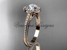14kt rose gold unique diamond engagement ring VD10080