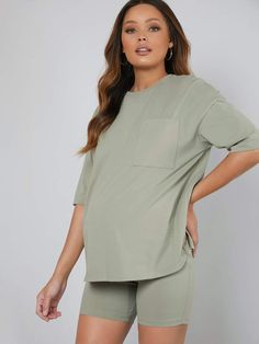 Maternity Pocket Patched Drop Shoulder Tee With Legging Short Pajama Set Maternity Pajama Set, Maternity Lounge Wear, Maternity Dresses, Pregnancy Outfits, Cute Asian Babies, Going Out Outfits, Legging, Pajama Shorts, Pregnancy