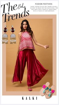 Rock this flamboyant and chic indo western set with this amazing bandhani printed top and flowy palazzo pants, for your stay at home festivities! Its not only super stylish and comfortable, but its also reigning the ethnic fashion scenes lately! All you Boho fans out there, these are the perfect ensembles to rock this festive season! Asian Inspired Wedding, South Asian Wedding, Sharara, Prom Dresses, Formal Dresses, Dress Designs, Palazzo Pants, Ethnic Fashion, Stylish Dresses