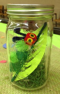 3. Very Hungry Caterpillar Mason Jar Centerpiece #WorldEricCarle #HungryCaterpillar