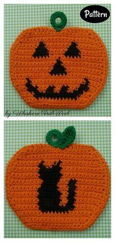 Halloween Pumpkin Potholders Crochet Pattern Potholder Patterns, Crochet Potholders, Crochet Patterns, Leaf Patterns, Crochet Ideas, Halloween Crochet, Halloween Crafts For Kids, Halloween Pumpkins, Crochet Ear Warmer Pattern