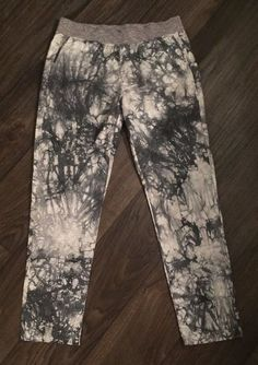 243e057cdf9ea CAbi Tie Dyed MARBLE Pants Stretchy Waist Pockets Grays White SMALL 100%  Cotton
