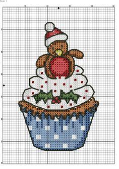 Cupcake Cross Stitch, Tiny Cross Stitch, Xmas Cross Stitch, Cross Stitch For Kids, Counted Cross Stitch Patterns, Cross Stitch Charts, Cross Stitch Designs, Cross Stitching, Cross Stitch Embroidery