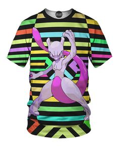 e8968afdc This all over print t-shirt supports Mewtwo the Pokemon created by science.  This shirt is perfect for the evil mastermind who wants to control the  world.