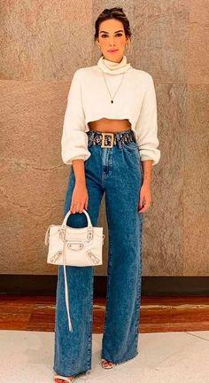 Looks Chic, Looks Style, Casual Looks, Chic Outfits, Trendy Outfits, Fall Outfits, Fashion Outfits, Wide Leg Denim, Wide Leg Jeans