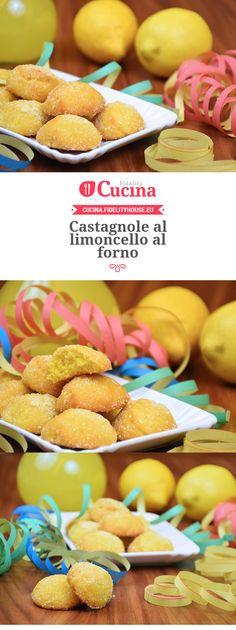 Castagnole al limoncello al forno. recipe in Italian Limoncello, Carnival Food, Lemon Recipes, Frappe, Cookie Recipes, Cereal, Cookies, Breakfast, Healthy