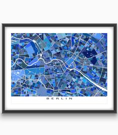 Do you love Berlin #Germany? Then this Berlin map art print will be great on your #wall!  This #city map has a modern, abstract art design made from of lots of little #blue shapes. Each shape is actually a city block or a piece of land - and these shapes combine like a puzzle or mosaic to form this #Berlin print.