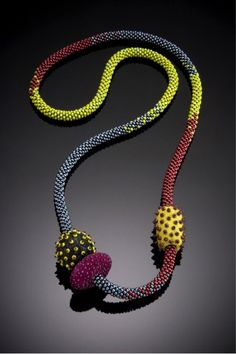 Shelley Jones - beaded and felted necklace - could be kumihimo and silk paper