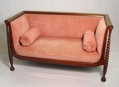 122: UNUSUAL VICTORIAN SETTEE WITH SPIRAL CARVING : Lot 122 Settee Sofa, Couch, Settees, Vintage Sofa, Galleries, Furniture Ideas, Spiral, Sofas, Love Seat