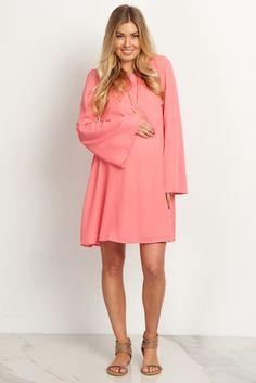 Salmon-Chiffon-Bell-Sleeve-Dress