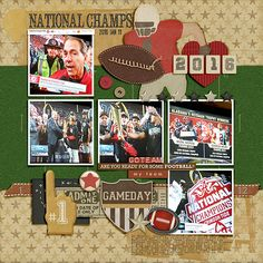 Well, I guess when you can't get to the stadium, you take photos of your television when your team wins the 2016 National Championship. **giggle**  Gridiron by ForeverJoy Designs http://the-lilypad.com/store/GRIDIRON.html Snipettes: Sports-Football by Sahlin Studio http://the-lilypad.com/store/snipettes-sports-football.html Fonts are Serial Publication, Stamp and Typewriter PG  Watch me scrap this layout: https://youtu.be/6M4uD_Ah2N8