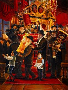 Painting: Dancing with Torah at the Venice Synagogue - Alex Levin Cultura Judaica, Arte Judaica, Simchat Torah, Temple In Jerusalem, Free To Use Images, Oriental, Jewish Art, Jewish Food, Fine Art