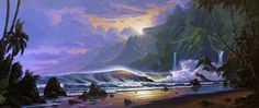"""Ilikane Coast Sunrise"" #SurfArt by #ScottMunzig. Giclee available in two sizes: 48"" x 20"" or 66"" x 28"""