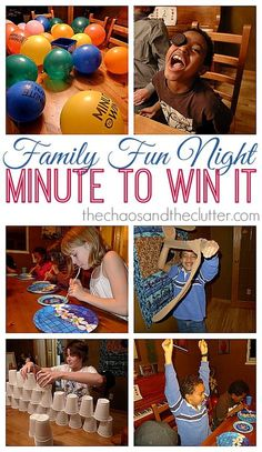 Minute to Win It Family Fun Night. This is perfect for families, parties or youth group events. It also makes for a really fun New Year's theme party.