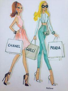 ORIGINAL fashion illustration-Shopping day by loveillustration