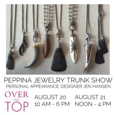 Join designer Jen Hansen for a trunk show and personal appearance at Over the Top in Highland Park, Illinois!