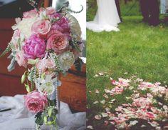Elegant peonies and rose petals.    #peonies #roses