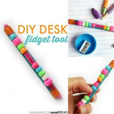 Desk Fidget Tool for School Make this DIY fidget tool for use in the classroom or at home while writing and reading to help kids focus, attend, and perform tasks with tactile sensory input and movement they need to help with fidgeting. Figet Toys, Diy Toys, Sensory Tools, Sensory Activities, Autism Activities, Autism Resources, Indoor Activities, Therapy Activities, Therapy Ideas