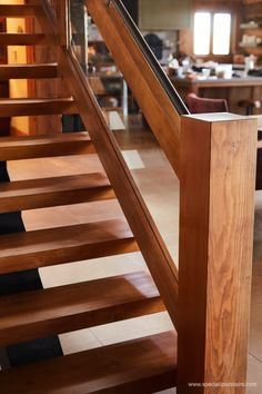 Rustic Oak and Fir - Specialized Stair & Railing Wood Stair Treads, Modern Stair Railing, Modern Stairs, Wood Stairs, Floating Stairs, Log Homes, Glass Panels, Solid Oak, Mid-century Modern