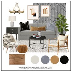 A shoppable Global Inspired, Modern Living Room- Jenna Gaidusek Shop the look! What is your modern design style? #moderndesign #globaldesign #interiordesignThis modern living room design is curated using neutrals and pops of orange and brass. The distinct bold black and white pattern paired with the burn orange and light blue color palette create a warm and inviting, global-inspired space.