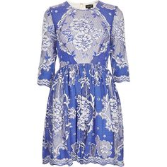 TOPSHOP China Blue Lace Skater Dress ($130) ❤ liked on Polyvore