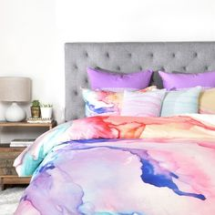 Great for Color My World Duvet Cover Set by East Urban Home Bedding Furniture from top store Duvet Cover Sizes, Bed Duvet Covers, Bed Sets, Tye Dye, Tween Beds, Wal Art, Cheap Bed Sheets, Luxury Bedding Sets, Modern Bedding
