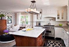 Love the white cabs with mushroom colored counters and subway tile. wood tone island with marble. perfection...